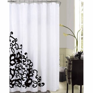 Romance White/ Black Embroidered Fabric 70x72-inch Shower Curtain