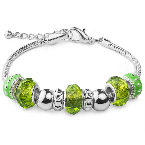 Silvertone Green Faceted Glass Bead Bracelet