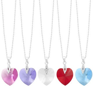 Fremada Rhodium Plated Sterling Silver Elements Heart Necklace