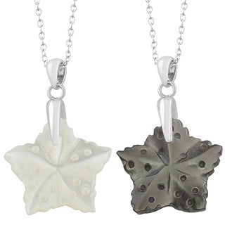 Fremada Rhodium Plated Sterling Silver Mother of Pearl Star Necklace (Black or White)