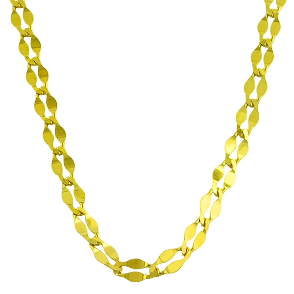 Gold over Sterling Silver Fancy Flat Curb Necklace