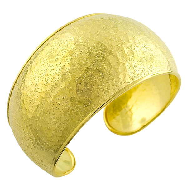 Gold over Silver Textured Cuff Bangle