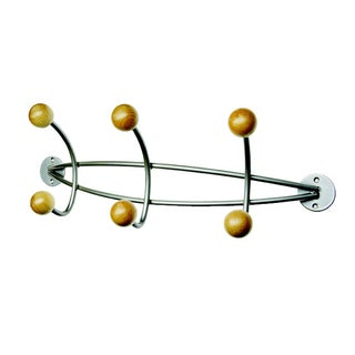 ALCO Triple Wall Coat Rack with Six Wooden Pegs