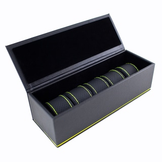 Caddy Bay Collection Black/ Green Carbon Fiber 5-slot Watch Case