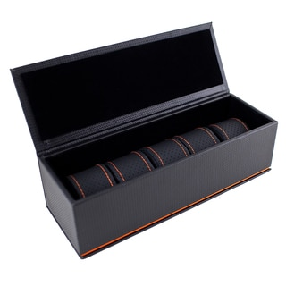Caddy Bay Collection Black/ Orange Carbon Fiber 5-slot Watch Case