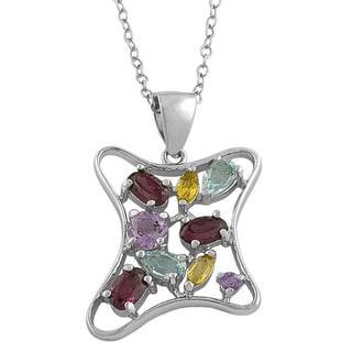 Fremada Sterling Silver Multi-gemstone Freeform Necklace