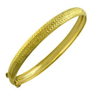 Fremada 14k Yellow Gold 7-mm Diamond-cut Bangle Bracelet