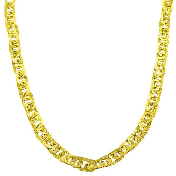 Fremada 10k Yellow Gold Hammered Flat Oval Link Necklace