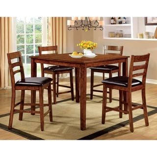 Furniture of America Ambrell 5-Piece Antique Oak Counter Height Dining Set