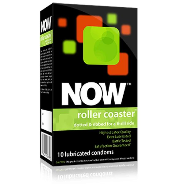 NOW Roller Coaster - Ribbed & Dotted Condoms, 10 count