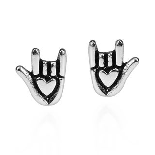 Aeravida Sterling Silver 'Love' Sign Language Hand Stud Earrings