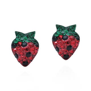 Plump Cubic Zirconia Strawberry .925 Silver Stud Earrings (Thailand)