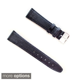 Banda JP Lizard Pattern Black Italian Leather Stainless Steel Buckle Watch Band