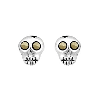 Mini Punk Skull Marcasite .925 Silver Stud Earrings (Thailand)