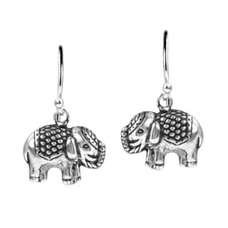 Thai Royal Elephant .925 Sterling Silver Dangle Earrings (Thailand)