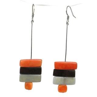 Faire Collection Rialto Tagua Nut Earrings in Papaya (Ecuador)
