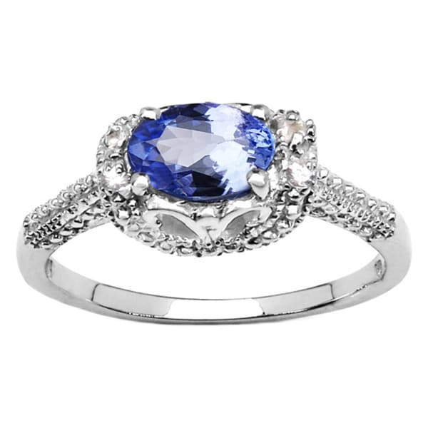 Sterling Silver Oval Tanzanite White Sapphire Ring