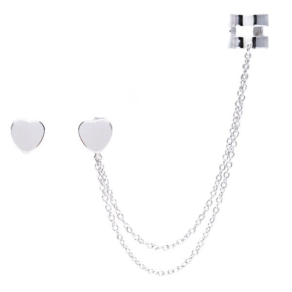 La Preciosa Sterling Silver Heart Single Stud with Cuff Earrings