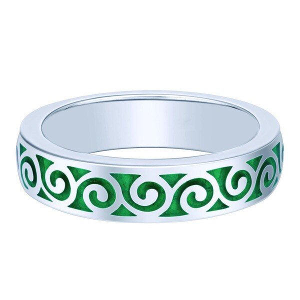 Sterling Silver Green Enamel Stackable Ring