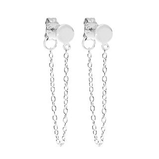 La Preciosa Sterling Silver Circle Stud with Hanging Chain Earrings