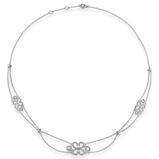 Haylee Jewels Sterling Silver 1/10ct TDW Diamond Necklace (G-H, I2-I3)
