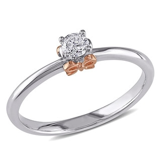Miadora Sterling Silver and 14k Rose Gold 1/6ct TDW Diamond Bow Promise Ring (G-H, I2-I3)
