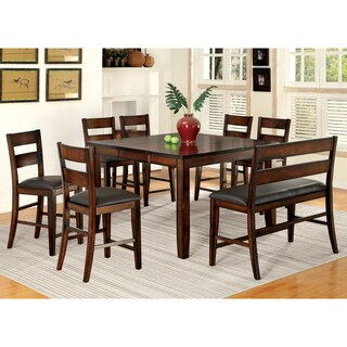 Furniture of America Katrine Dark Cherry 8-Piece Counter Height Dining Set