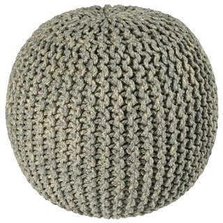 "2-Tone 16"" Grey Cotton Rope Pouf"