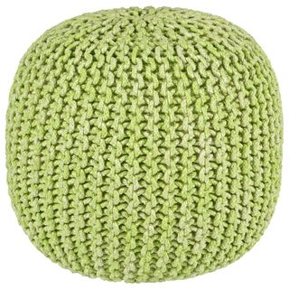"2-Tone 16"" Green Cotton Rope Pouf"