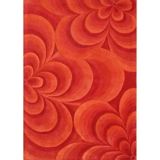 Alliyah Rugs Handmade Hand-tufted Red 3D Flowers New Zealand Wool Rug (8' x 10')