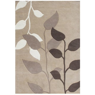 Alliyah Handmade Latte New Zealand Blend Wool Rug