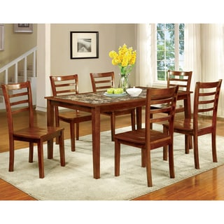Furniture of America Brixen 7-Piece Faux Marble Dining Set
