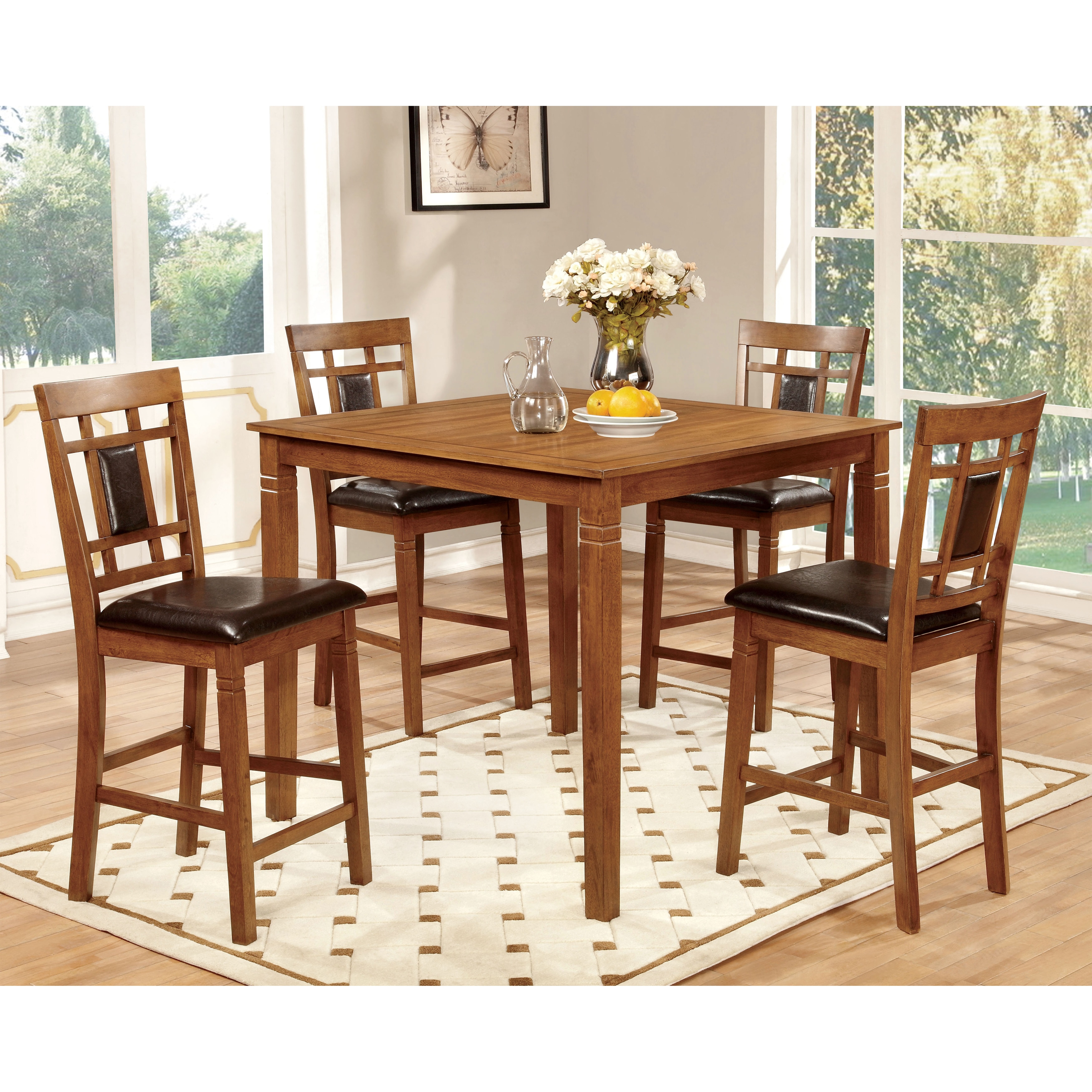 Features Dining Set Furniture Contains Faux Leather Set Includes One 1