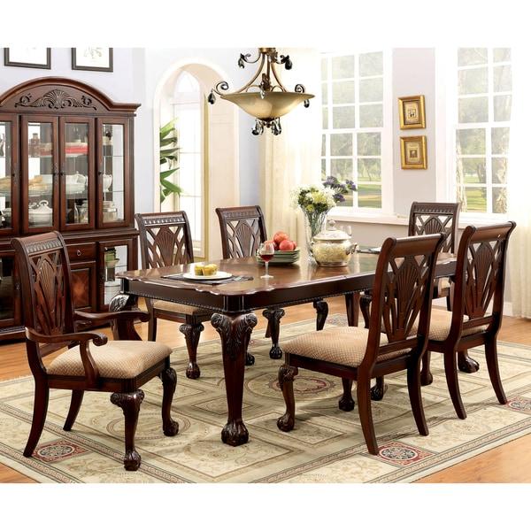 Furniture of america ranfort formal 7 piece cherry dining for Furniture of america reviews