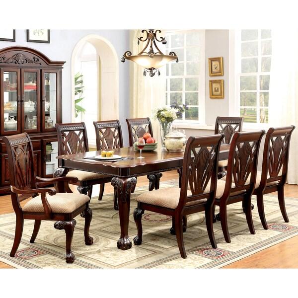 Furniture of America Ranfort Formal 9 Piece Cherry Dining