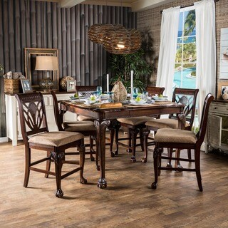 Furniture of America Ranfort 7-Piece Cherry Counter Height Dining Set