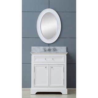 Water Creation Derby 30W 30-inch Solid White Single Sink Bathroom Vanity