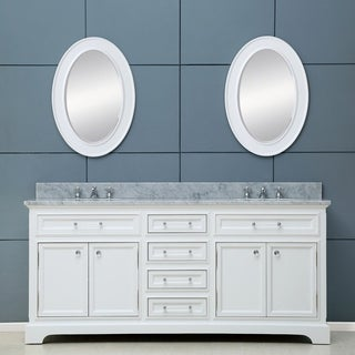 Water Creation Derby 72W 72-inch Solid White Double Sink Bathroom Vanity