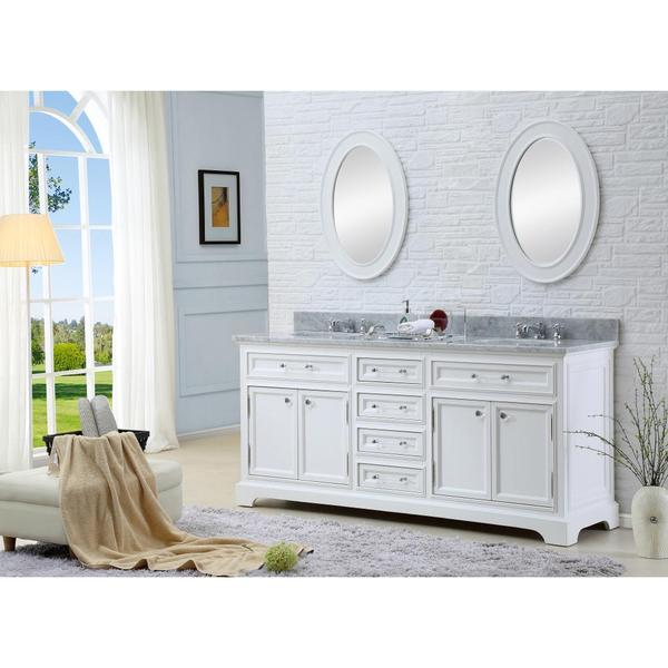 Water Creation Derby 72-inch Solid White Double Sink Bathroom Vanity ...