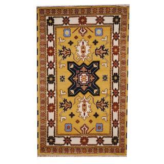 Herat Oriental Indo Hand-knotted Tribal Kazak Gold/ Ivory Wool Rug (3' x 5')