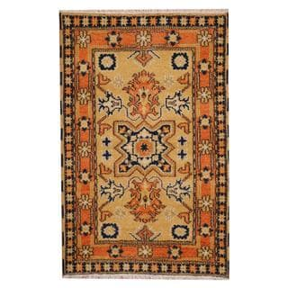 Herat Oriental Indo Hand-knotted Tribal Kazak Gold/ Salmon Wool Rug (3' x 5')