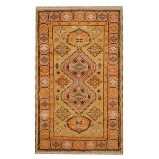 Herat Oriental Indo Hand-knotted Tribal Kazak Light Green/ Gold Wool Rug (3' x 5')