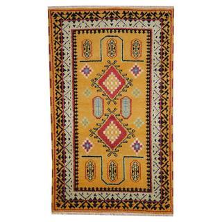 Herat Oriental Indo Hand-knotted Tribal Kazak Gold/ Light Green Wool Rug (3' x 5')