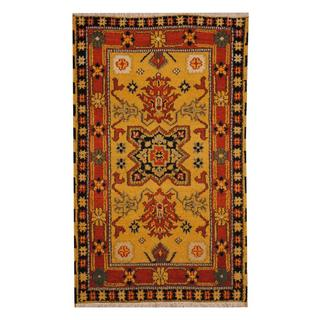 Herat Oriental Indo Hand-knotted Tribal Kazak Gold/ Rust Wool Rug (3' x 5')