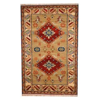 Herat Oriental Indo Hand-knotted Tribal Kazak Light Gold/ Ivory Wool Rug (3' x 5')
