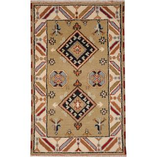 Herat Oriental Indo Hand-knotted Tribal Kazak Light Green/ Ivory Wool Rug (3' x 5')