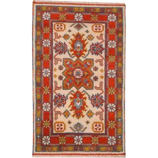Herat Oriental Indo Hand-knotted Tribal Kazak Ivory/ Rust Wool Rug (3' x 5')