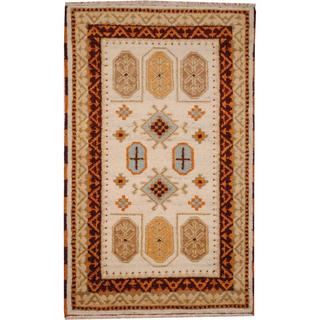Herat Oriental Indo Hand-knotted Tribal Kazak Ivory/ Light Green Wool Rug (3' x 5')