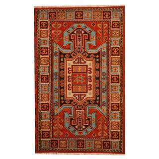 Herat Oriental Indo Hand-knotted Tribal Kazak Rust/ Navy Wool Rug (3' x 5')
