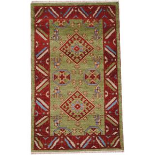 Herat Oriental Indo Hand-knotted Tribal Kazak Light Green/ Red Wool Rug (3' x 5')